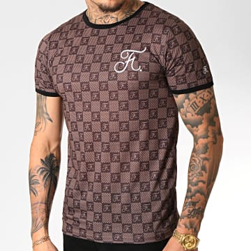 Tee Shirt Premium Fit Damier Avec Broderie 254 Marron
