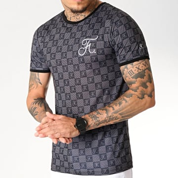 Final Club - Tee Shirt Premium Fit Damier Avec Broderie 257 Noir Gris
