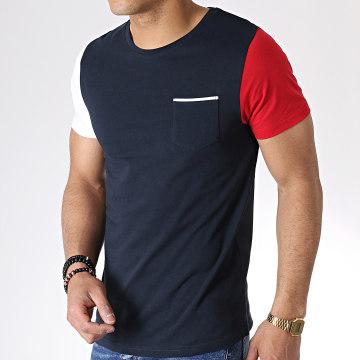 Tee Shirt Tricolore Avec Poche 733 Bleu Marine