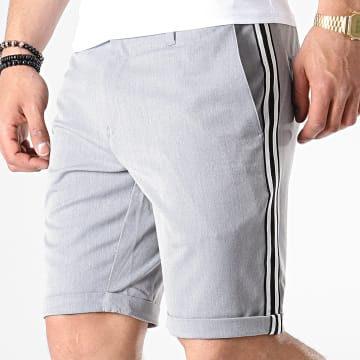 Short Chino A Bandes Nelson Gris Chiné