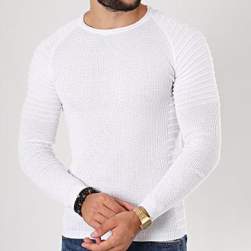 Pull Avec Empiecement Uni JUM-10 Blanc