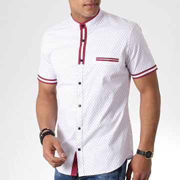 Chemise Manches Courtes Col Mao Y-3392 Blanc Rouge