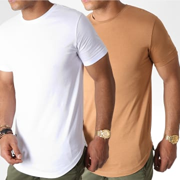 LBO - Lot de 2 Tee Shirts Oversize 781 Camel Et Blanc