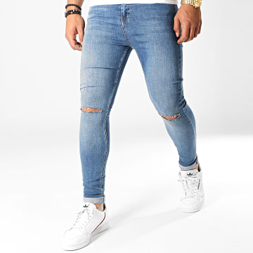 LBO - Jean Super Skinny Fit Troué 754 SS-10B Denim Bleu