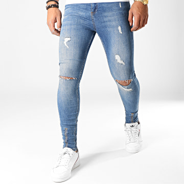 LBO - Jean Super Skinny Fit Déchiré Avec Zips 789 SS-10D Denim Bleu