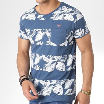 MZ72 - Tee Shirt Poche Tercet Bleu Marine Floral