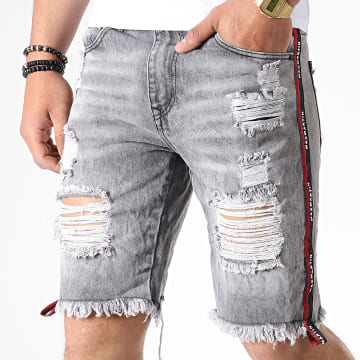 Short En Jean A Bandes TH37376 Gris