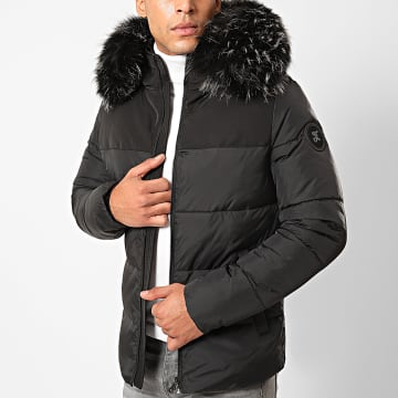 Final Club - Doudoune Fourrure Premium Big Puffa Noir Gris