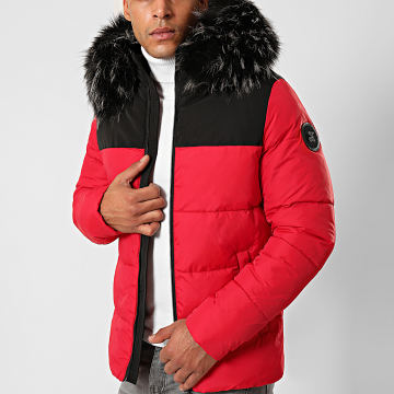Final Club - Doudoune Fourrure Premium Big Puffa Rouge Noir Gris