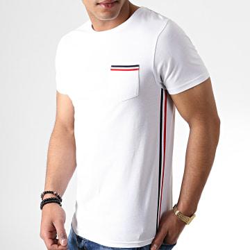 Tee Shirt Poche Tricolore Bleu Blanc Rouge 734 Blanc