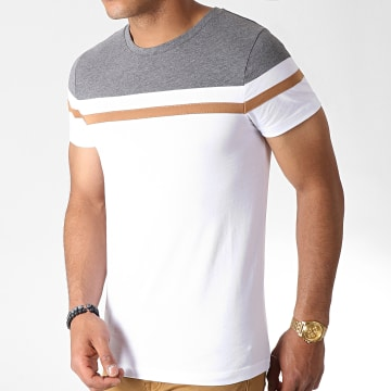 LBO - Tee Shirt Tricolore 727 Anthracite Blanc Camel