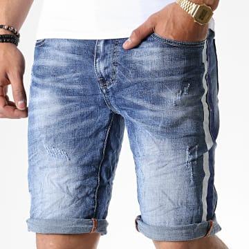 Short Jean Skinny A Bandes 77018 Bleu Denim