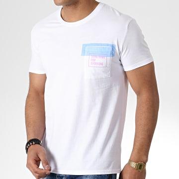 Tee Shirt Poche F1009 Blanc Bleu