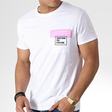 Tee Shirt Poche F1009 Blanc Rose