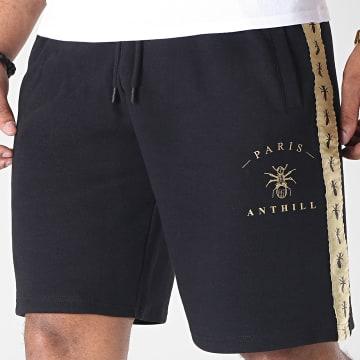 Anthill - Short Jogging Avec Bandes Tape Noir Doré
