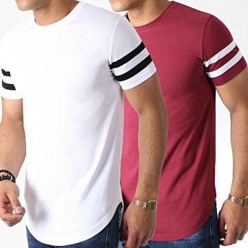 LBO - Lot de 2 Tee Shirts Oversize Avec Bandes 783 Bordeaux Et Blanc