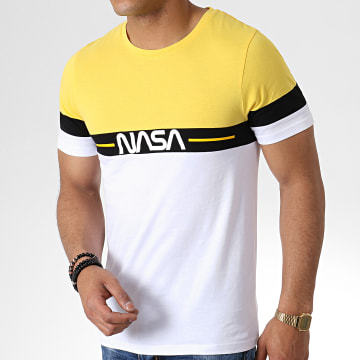NASA - Tee Shirt Split Tricolore Noir Blanc Jaune