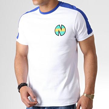 Tee Shirt A Bandes Olive Et Tom New Team 1 Blanc Bleu Roi