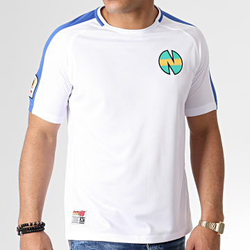Tee Shirt De Sport A Bandes Olive Et Tom New Team 1 Blanc Bleu Roi