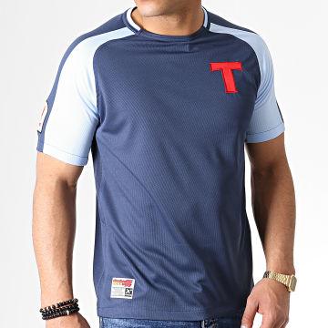 Okawa Sport - Tee Shirt De Sport A Bandes Olive Et Tom Toho Bleu Marine Bleu Clair