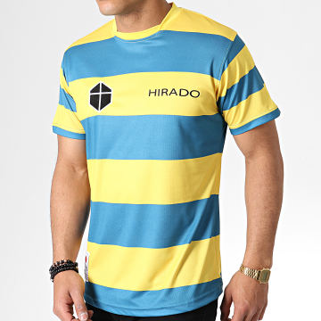 Okawa Sport - Tee Shirt De Sport A Rayures Olive Et Tom Hirado Bleu Clair Jaune