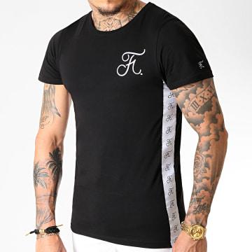 Tee Shirt Avec Bandes Et Broderie 234 Noir