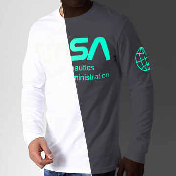 NASA - Tee Shirt Manches Longues Glow In The Dark Blanc