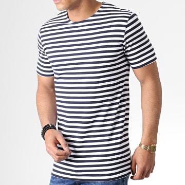 Urban Classics - Tee Shirt TB2061 Blanc Bleu Marine