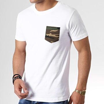 Urban Classics - Tee Shirt Poche TB492 Blanc Vert Kaki Camouflage