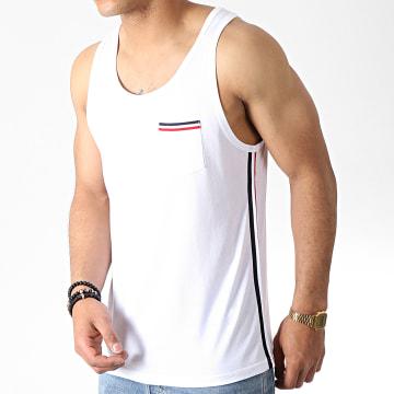LBO - Débardeur Poche Avec Bandes Tricolore 785 Blanc
