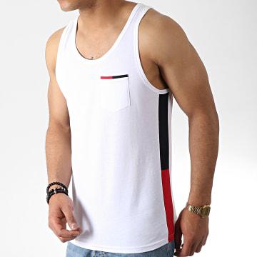 LBO - Débardeur Poche Avec Bandes Tricolore 784 Blanc
