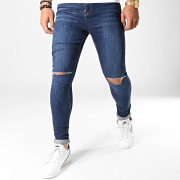 LBO - Jean Super Skinny Fit Troué 795 SS-2B Denim Bleu Foncé