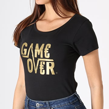 Game Over - Tee Shirt Femme Game Over Noir Or