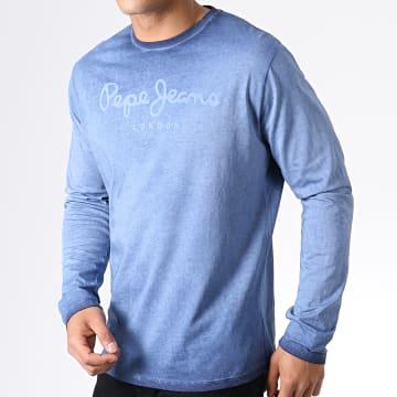 Pepe Jeans - Tee Shirt Manches Longues West Sir PM503829 Bleu Marine