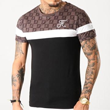 Tee Shirt Damier Tricolore Avec Broderie 253 Blanc Noir Marron