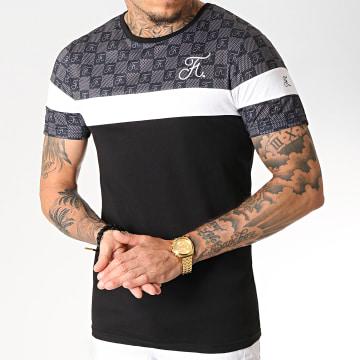 Tee Shirt Damier Tricolore Avec Broderie 256 Blanc Noir Gris