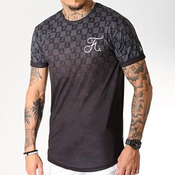 Tee Shirt Oversize Damier Dégradé Avec Broderie 258 Noir Gris