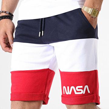 NASA - Short Jogging Worm Logo Tricolore Bleu Marine Blanc Rouge