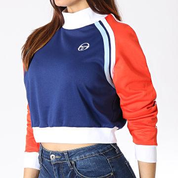 Sweat Col Montant Femme Claire 38199 Bleu Marine Blanc Rouge