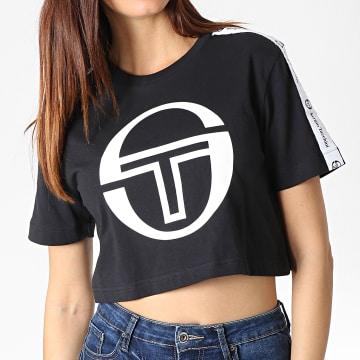 Tee Shirt Crop Femme A Bandes Romina 38068 Noir