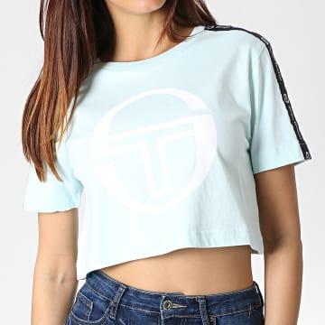 Tee Shirt Crop Femme A Bandes Romina 38068 Vert Menthe