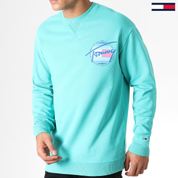 Sweat Crewneck Light Washed 6602 Vert Turquoise