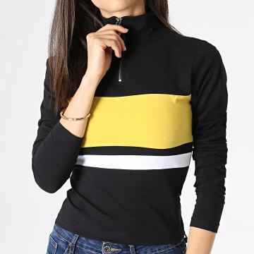 Urban Classics - Tee Shirt Manches Longues Crop Femme TB2476 Noir Jaune Blanc