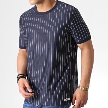 HUGO by Hugo Boss - Tee Shirt A Rayures Reverse Logo Drieste 50410916 Bleu Marine Blanc