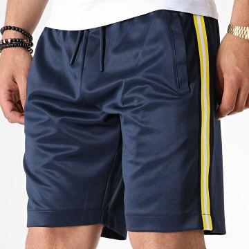 Short Jogging A Bandes Rhett Bleu Marine Jaune Blanc