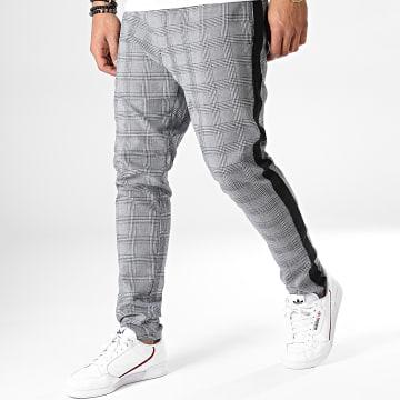 Brave Soul - Pantalon Carreaux Avec Bandes Thomas Gris Noir