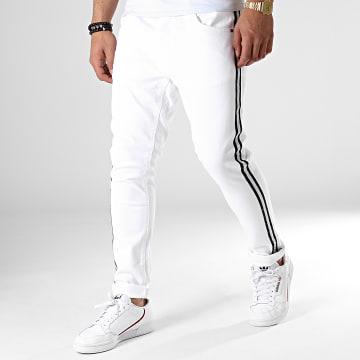 Jean Skinny A Bandes Heat Blanc