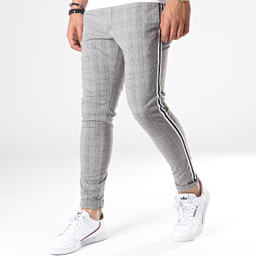 Brave Soul - Pantalon Carreaux Avec Bandes Boston Gris Blanc Noir