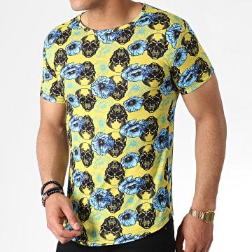 John H - Tee Shirt Oversize Floral IT-011 Jaune Bleu Clair