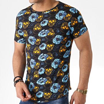 John H - Tee Shirt Oversize Floral IT-010 Noir